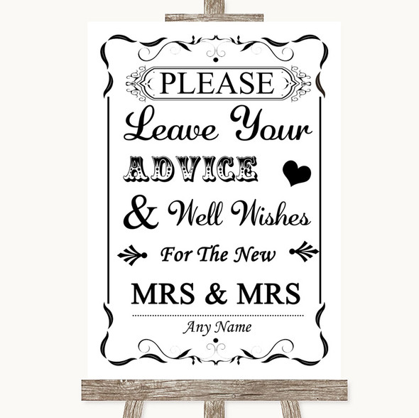 Black & White Guestbook Advice & Wishes Lesbian Personalised Wedding Sign