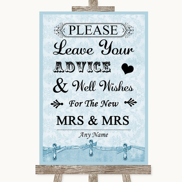 Blue Shabby Chic Guestbook Advice & Wishes Lesbian Personalised Wedding Sign