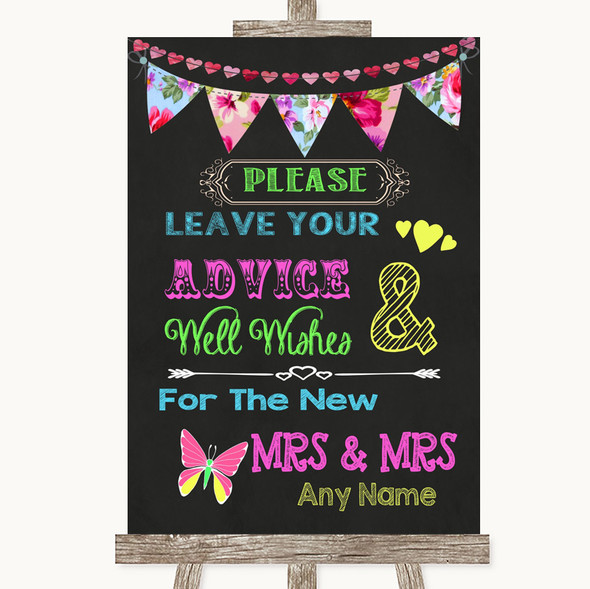 Bright Bunting Chalk Guestbook Advice & Wishes Lesbian Personalised Wedding Sign