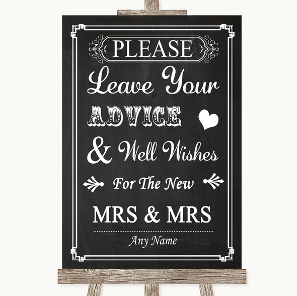 Chalk Style Guestbook Advice & Wishes Lesbian Personalised Wedding Sign