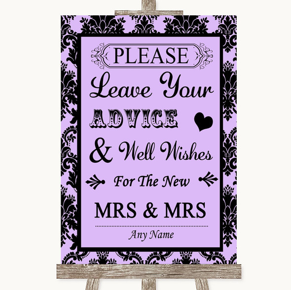 Lilac Damask Guestbook Advice & Wishes Lesbian Personalised Wedding Sign