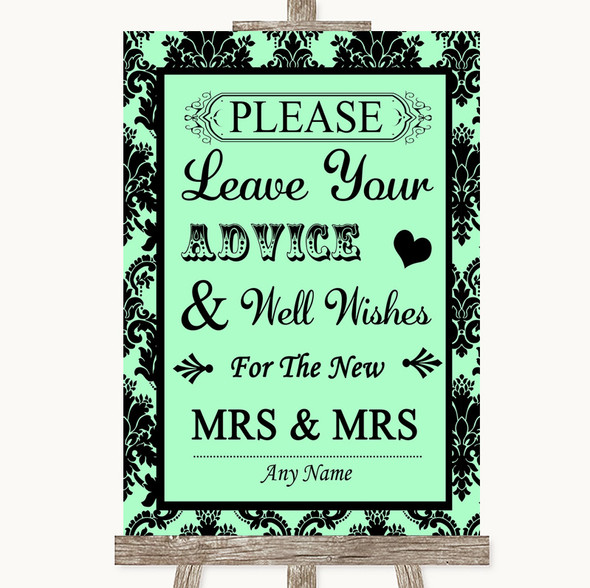 Mint Green Damask Guestbook Advice & Wishes Lesbian Personalised Wedding Sign