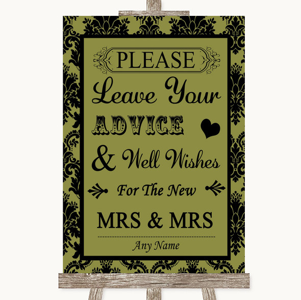 Olive Green Damask Guestbook Advice & Wishes Lesbian Personalised Wedding Sign