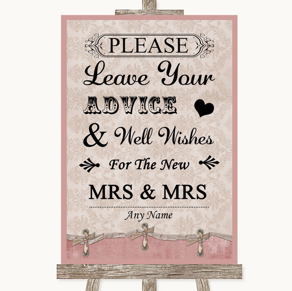 Pink Shabby Chic Guestbook Advice & Wishes Lesbian Personalised Wedding Sign
