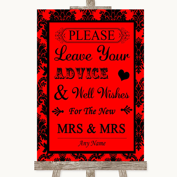 Red Damask Guestbook Advice & Wishes Lesbian Personalised Wedding Sign