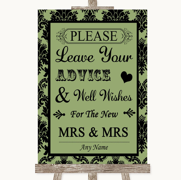 Sage Green Damask Guestbook Advice & Wishes Lesbian Personalised Wedding Sign