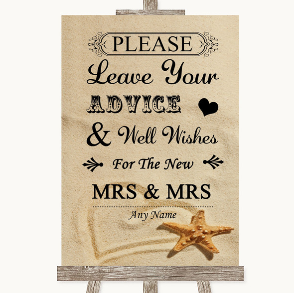 Sandy Beach Guestbook Advice & Wishes Lesbian Personalised Wedding Sign