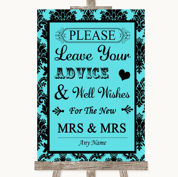 Tiffany Blue Damask Guestbook Advice & Wishes Lesbian Personalised Wedding Sign