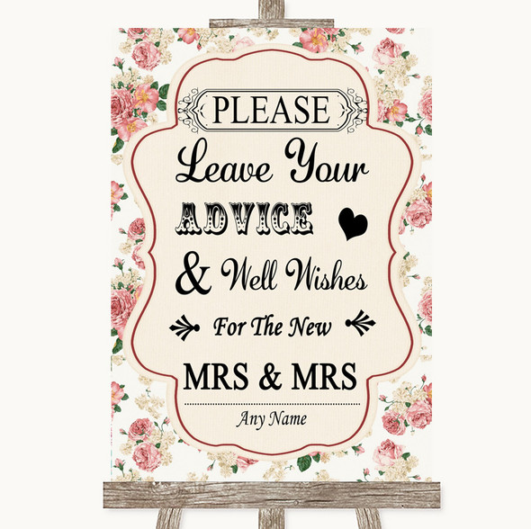 Vintage Roses Guestbook Advice & Wishes Lesbian Personalised Wedding Sign