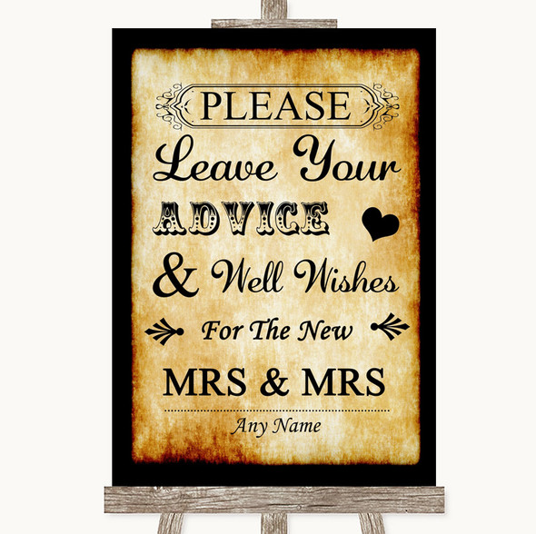 Western Guestbook Advice & Wishes Lesbian Personalised Wedding Sign