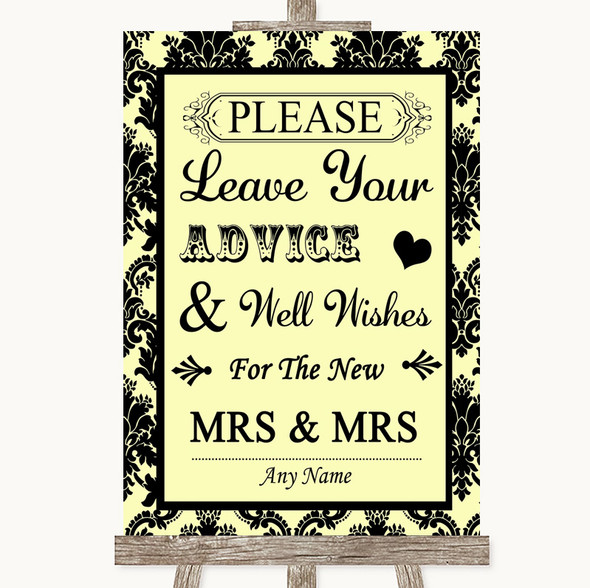 Yellow Damask Guestbook Advice & Wishes Lesbian Personalised Wedding Sign