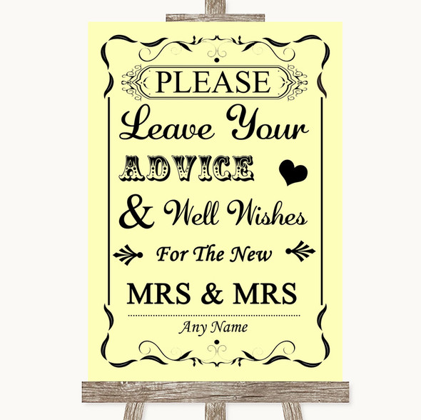 Yellow Guestbook Advice & Wishes Lesbian Personalised Wedding Sign