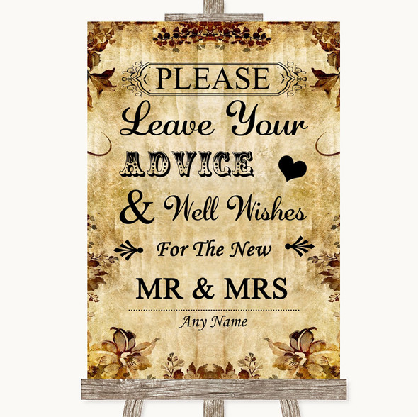Autumn Vintage Guestbook Advice & Wishes Mr & Mrs Personalised Wedding Sign