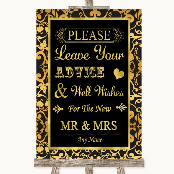 Black & Gold Damask Guestbook Advice & Wishes Mr & Mrs Personalised Wedding Sign