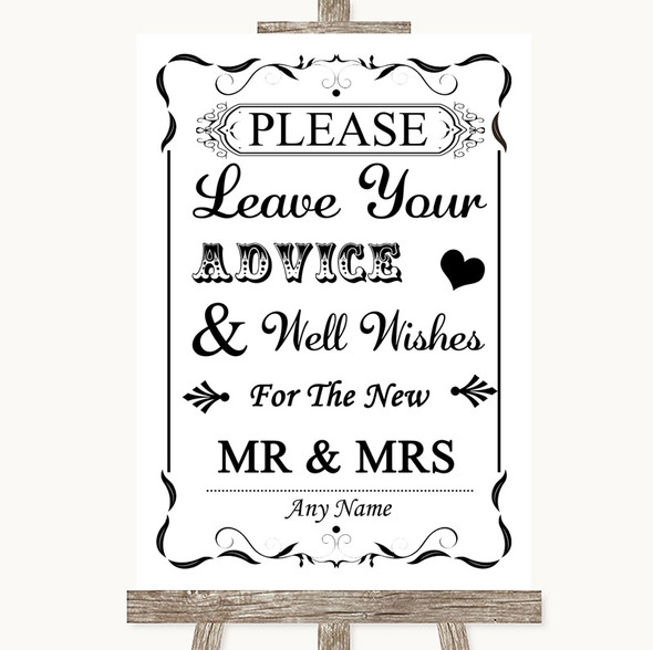 Black & White Guestbook Advice & Wishes Mr & Mrs Personalised Wedding Sign
