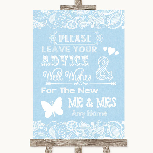 Blue Burlap & Lace Guestbook Advice & Wishes Mr & Mrs Personalised Wedding Sign