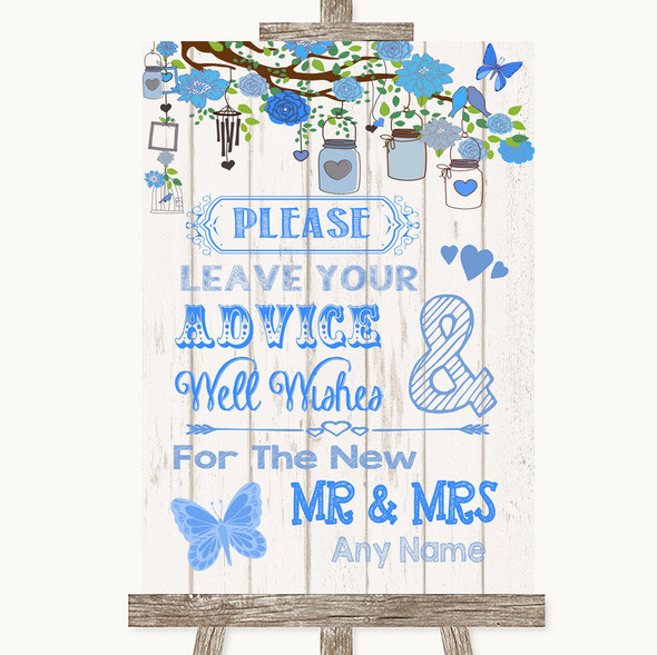 Blue Rustic Wood Guestbook Advice & Wishes Mr & Mrs Personalised Wedding Sign