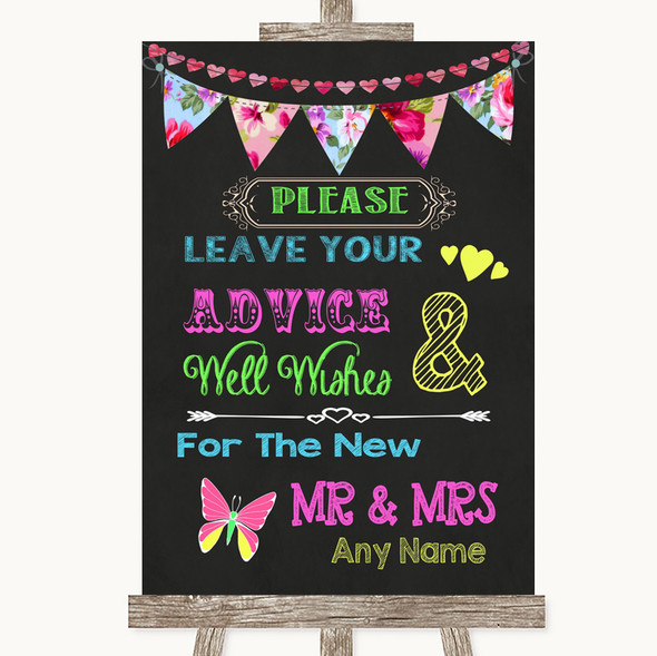 Bright Bunting Chalk Guestbook Advice & Wishes Mr & Mrs Wedding Sign