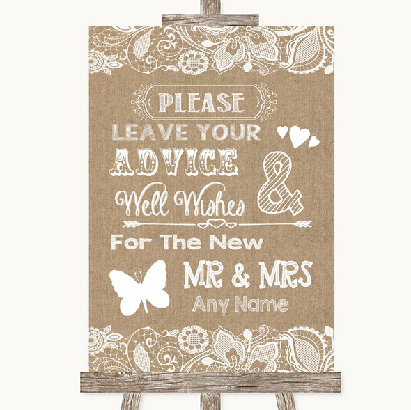 Burlap & Lace Guestbook Advice & Wishes Mr & Mrs Personalised Wedding Sign