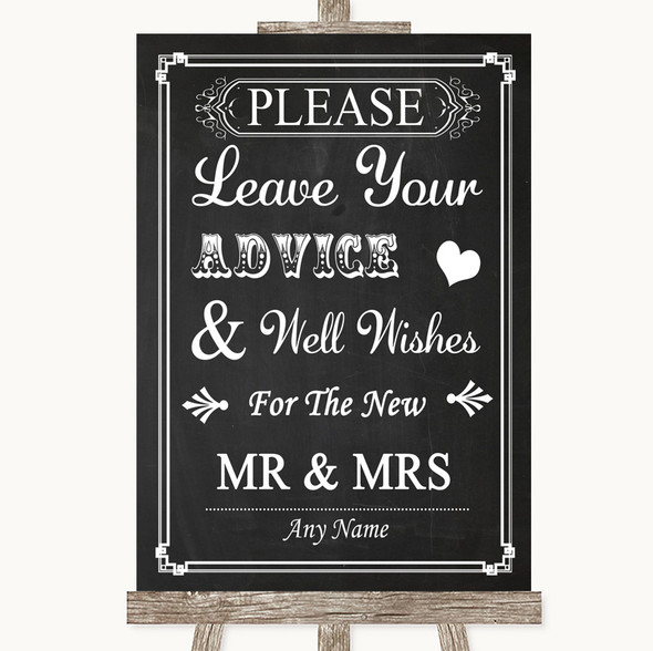 Chalk Style Guestbook Advice & Wishes Mr & Mrs Personalised Wedding Sign