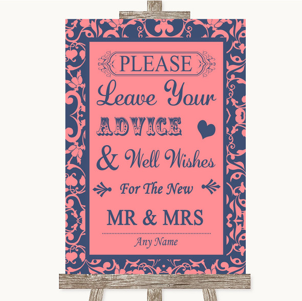 Coral Pink & Blue Guestbook Advice & Wishes Mr & Mrs Personalised Wedding Sign