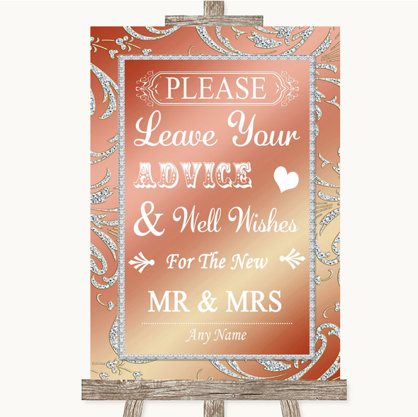 Coral Pink Guestbook Advice & Wishes Mr & Mrs Personalised Wedding Sign