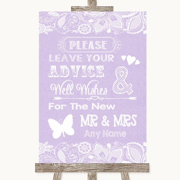Lilac Burlap & Lace Guestbook Advice & Wishes Mr & Mrs Personalised Wedding Sign