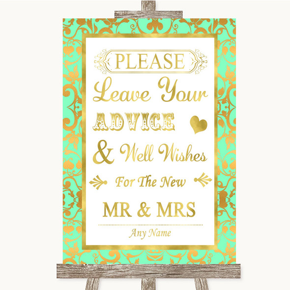Mint Green & Gold Guestbook Advice & Wishes Mr & Mrs Personalised Wedding Sign