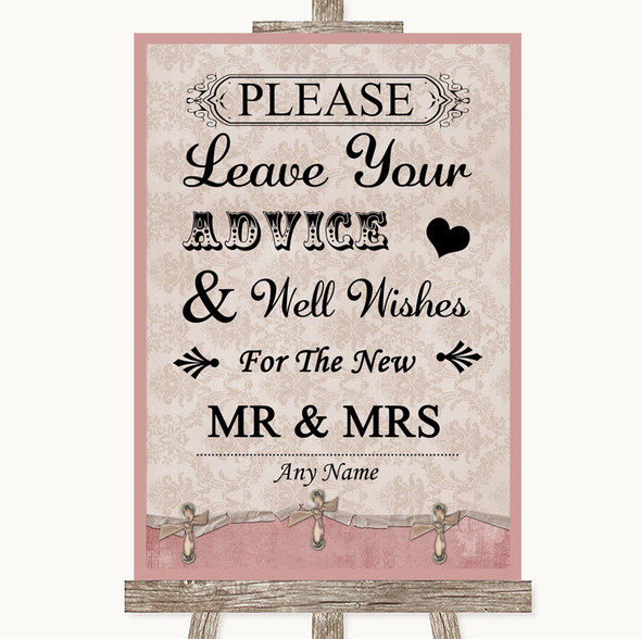 Pink Shabby Chic Guestbook Advice & Wishes Mr & Mrs Personalised Wedding Sign