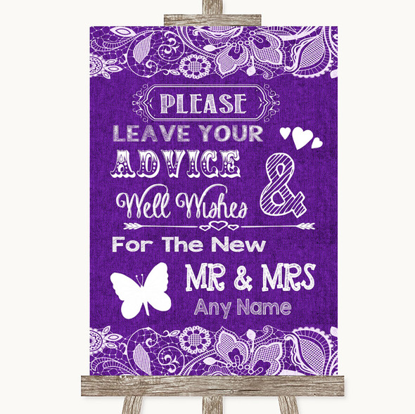 Purple Burlap & Lace Guestbook Advice & Wishes Mr & Mrs Wedding Sign