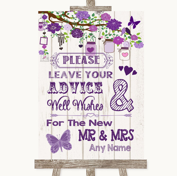 Purple Rustic Wood Guestbook Advice & Wishes Mr & Mrs Personalised Wedding Sign