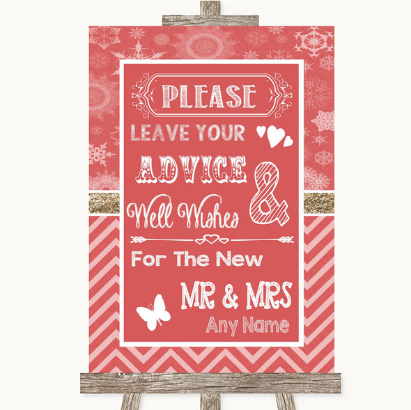 Red Winter Guestbook Advice & Wishes Mr & Mrs Personalised Wedding Sign