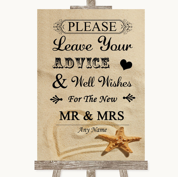 Sandy Beach Guestbook Advice & Wishes Mr & Mrs Personalised Wedding Sign