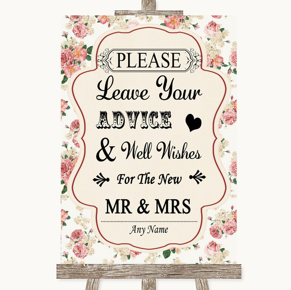 Vintage Roses Guestbook Advice & Wishes Mr & Mrs Personalised Wedding Sign