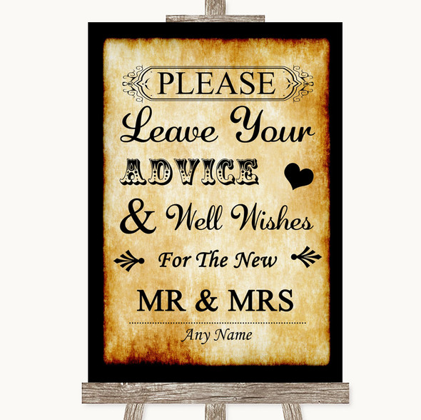 Western Guestbook Advice & Wishes Mr & Mrs Personalised Wedding Sign
