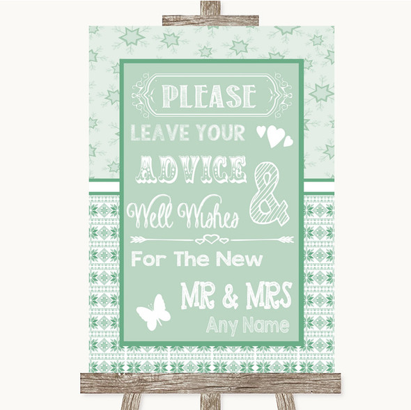 Winter Green Guestbook Advice & Wishes Mr & Mrs Personalised Wedding Sign