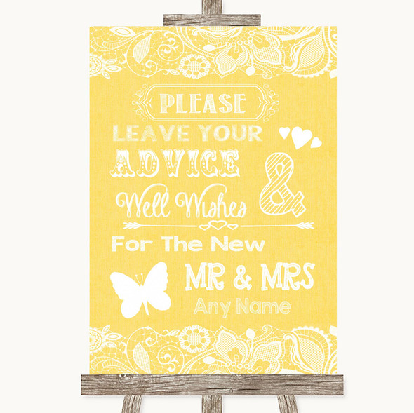 Yellow Burlap & Lace Guestbook Advice & Wishes Mr & Mrs Wedding Sign