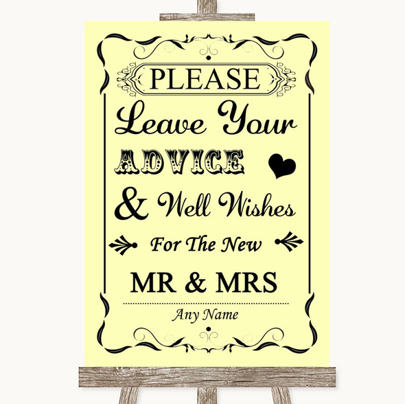 Yellow Guestbook Advice & Wishes Mr & Mrs Personalised Wedding Sign