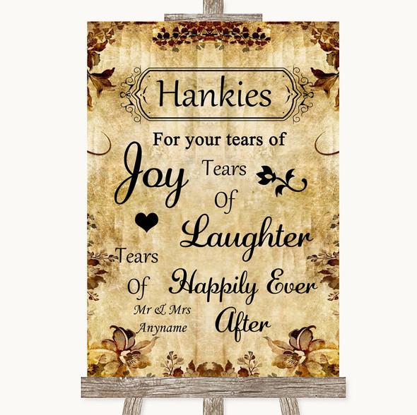 Autumn Vintage Hankies And Tissues Personalised Wedding Sign
