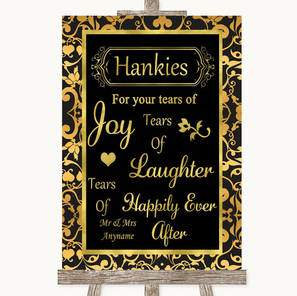 Black & Gold Damask Hankies And Tissues Personalised Wedding Sign