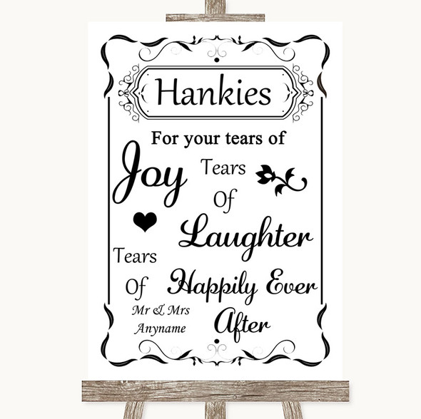 Black & White Hankies And Tissues Personalised Wedding Sign