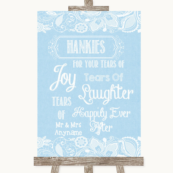 Blue Burlap & Lace Hankies And Tissues Personalised Wedding Sign