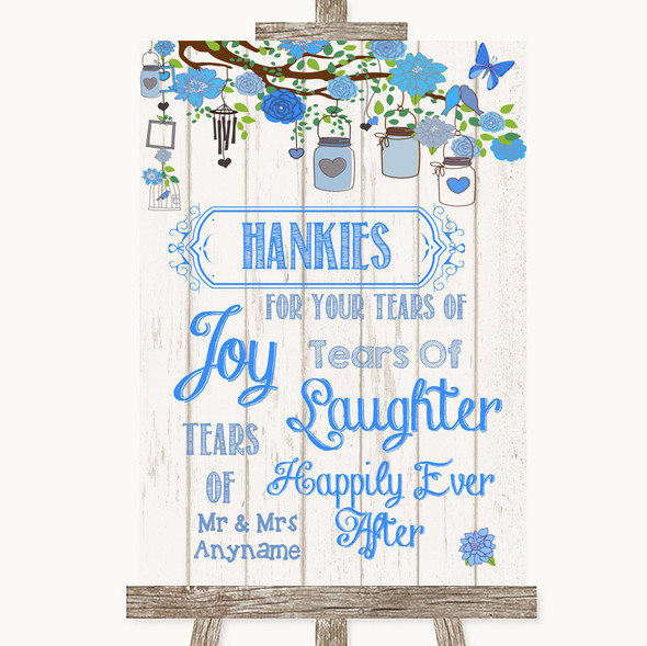 Blue Rustic Wood Hankies And Tissues Personalised Wedding Sign