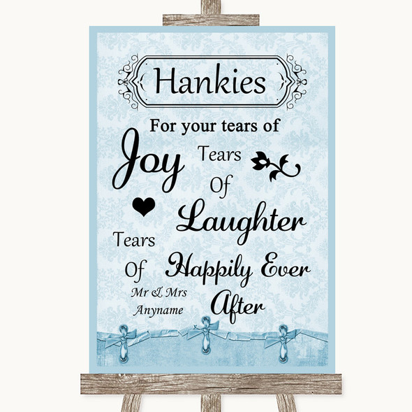 Blue Shabby Chic Hankies And Tissues Personalised Wedding Sign