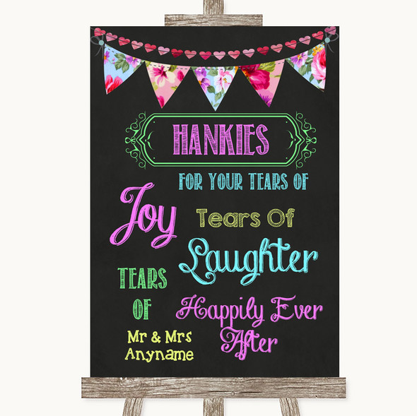 Bright Bunting Chalk Hankies And Tissues Personalised Wedding Sign
