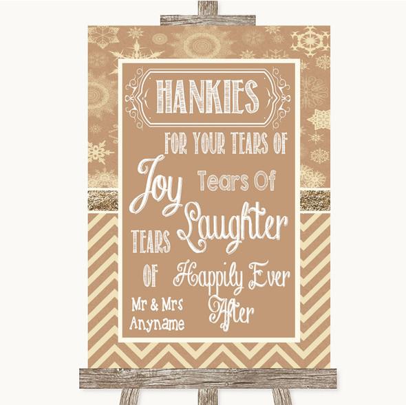 Brown Winter Hankies And Tissues Personalised Wedding Sign