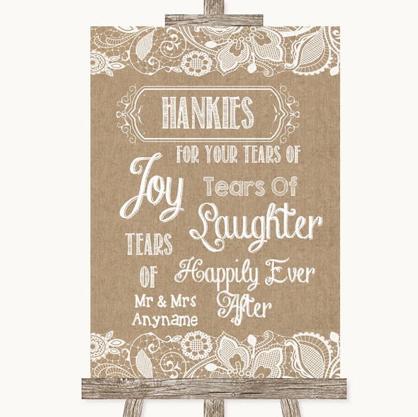 Burlap & Lace Hankies And Tissues Personalised Wedding Sign