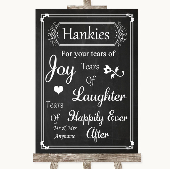 Chalk Style Hankies And Tissues Personalised Wedding Sign
