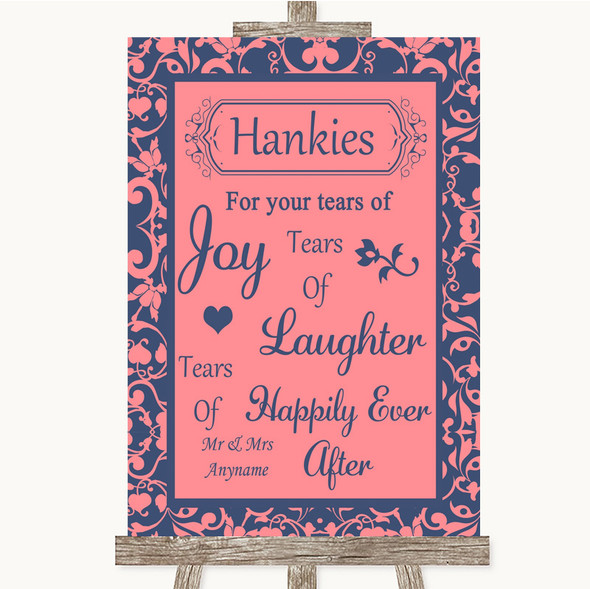 Coral Pink & Blue Hankies And Tissues Personalised Wedding Sign