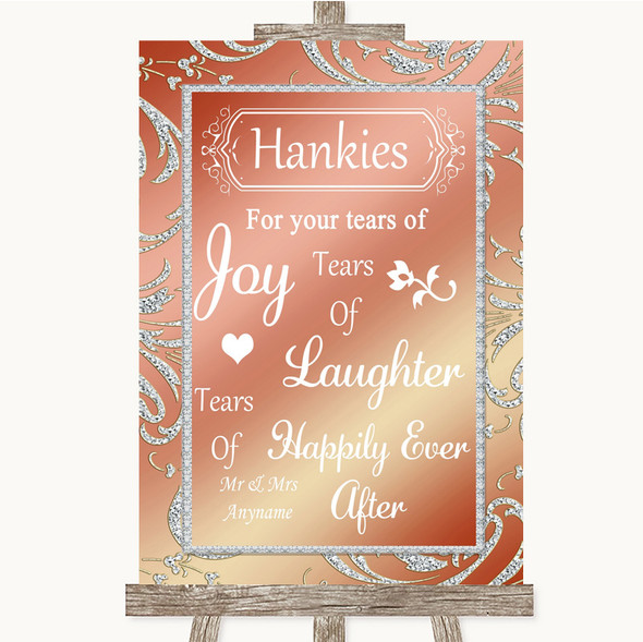 Coral Pink Hankies And Tissues Personalised Wedding Sign
